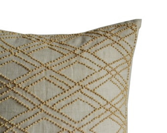 Throw Pillow Cover -Handmade French Knot Geometric Decorative Pillow Cover -Oatmeal Linen Pillow -Beige Textured Pillow -Gift -Anniversary