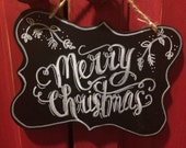 "Small Black and White sign- ""Merry Christmas"""