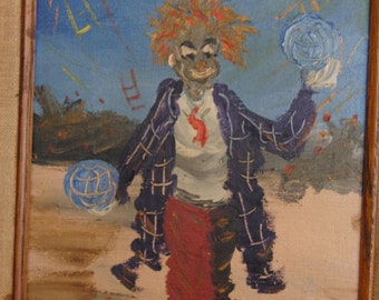 Vintage original oil painting of clown on canvas signed by the artist