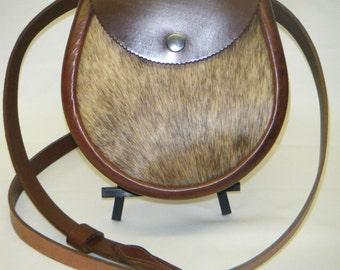 Handmade Brown Hair on Leather Sporran. Ard Style