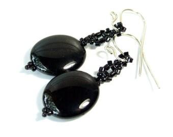 Black Agate Earrings Black Earrings Beaded Gemstone Jewelry, Oval Drop Earrings Handmade Jewelry Sterling Silver, Beadwork, Dangle Earrings