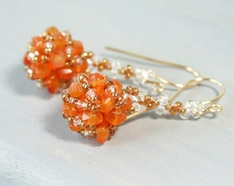 Carnelian Earrings, Artisan Earrings Boho Orange Earrings, Beadwork Gemstone Jewelry Unique Handmade Gift For Her Gold Filled