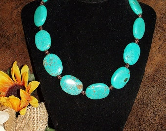 Western Genuine Gemstone Turquoise Magnesite Necklace with Copper Accents