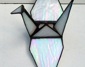 Stained Glass Origami, Sadakos Peace Crane, Tsuru, Symbol of Peace, Prosperity, Fidelity, Longevity. Hanging Ornament, 3-D Suncatcher, White