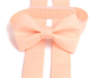 PALE PEACH Bow Tie and Suspenders, Peach Suspenders, Toddler Suspenders, Baby, Boys, Kids, Bellini, Ring Bearer Gift, Page Boy Braces,