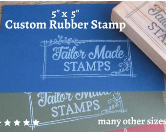 """Packaging Rubber Stamp, Custom Rubber Stamp, Logo Stamp, Packaging Rubber Stamp, 5"""" x 5"""" Wood Mounted"""
