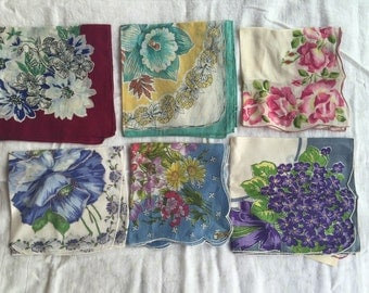 Lot of 6 Colorful Vintage Hankies