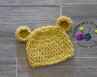 Crochet baby bear hat, bear beanie, fuzzy bear hat, crochet Newborn photo props photography boy/girl- Made to order