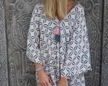 Ladies Kaftan Dress, Navy & Pale Pink Coffee Bean Caftan Summer Dress with tassels - Loose Fitting Dress