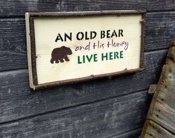 WELCOME SIGN - Entryway Decor, An Old Bear and His Honey Live Here Wall Plaque, Twig Frame, Door Sign, Anniversary Gift, Couples Gift