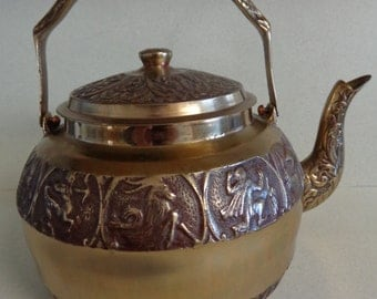 Vintage Brass Zodiac Teapot - Tea Kettle with Lid Hand Made embossed Made in Korea