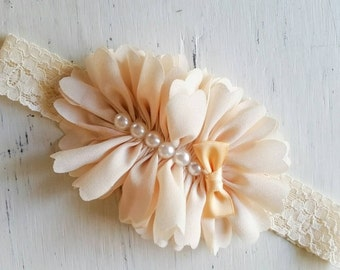 Vintage cream couture  headband, Couture headband , Baby headband, Vintage headband , Girl headband