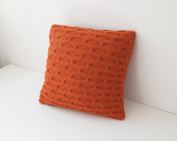 Throw Pillow Knitted Cushion Cover Burnt Orange BOSCOMBE