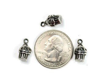 Antique Silver 3D Cupcake Charms 10 QTY