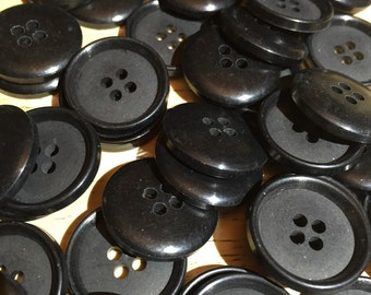 Fifty Black Buttons, Lot of 50 Black Buttons for Sewing, Crafting, and various projects, stock lot 78