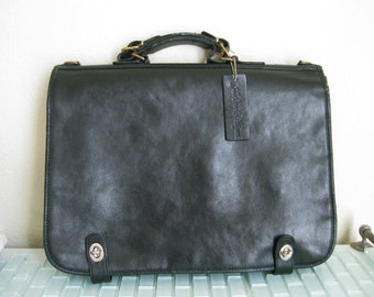 Black Leather Attache Briefcase w/ Pen holder - Ashton & Hayes