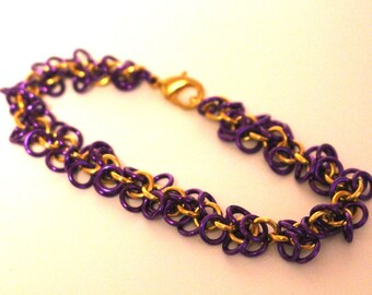 Purple and Gold Anodized Aluminum Shaggy Loops Chainmaille Bracelet