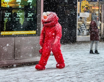 Elmo in Snow, Times Square, NYC Fine Art Street Photography, Winter Photo, New York Photography