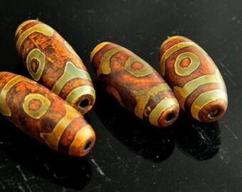 2PC Tibetan Agate dzi  3 EYE  Barrel  Bead 13mm X 35mm