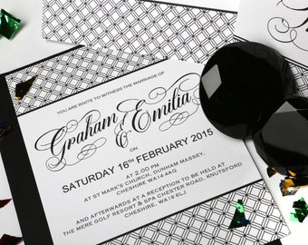 Black & White Elegance Wedding Stationery - Set Package of 50 Invitations, 50 Thank You Cards, Table Numbers and Co-ordinating Envelopes.