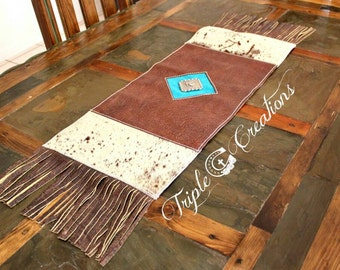 Gorgeous Leather and Cowhide Table Runner