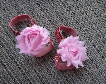 barefoot sandals, pink barefoot sandals, newborn barefoot sandals, baby girl barefoot sandals, toddler sandals, glitter elastic