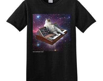 Cats On Synthesizers In Space - Minimoog Cat Tshirt