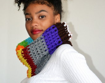 Bohemian Crochet Neck warmer/ Multicolored Cowl/ Crochet Snood scarf/ Gift for Her/ Fall Fashion cowl/ Spring fashion scarf cowl