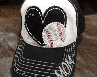 Baseball Love Sports and Bling Mom hat