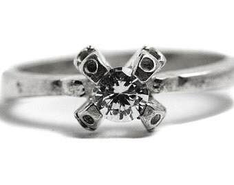 Fine Ring Sterling Silver Cubic Zirconia Brilliant
