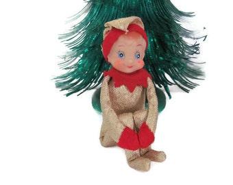 Vintage Knee Hugger Elf Ornament, 1960s Christmas Decoration, Inarco Gold Knee Hugger Elf, 1960s Christmas Elf, Christmas Decor, Mid Century