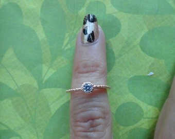Rose gold sterling silver CZ crystal toe ring
