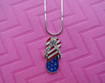 Flip flop red , white  and blue patriot crystal pendant