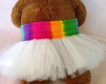 White Rainbow Wedding Dog Tutu Pet Parade Costume