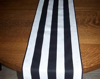 SALE Striped Runner.Black and White Stripe Runner.Striped Table Cloth.Runner.Table Topper.Buffet Table. Wedding. Black Stripe.Table Cover.Ta