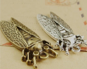 30 Cicada Charms, 38x16MM Brass / Silver Tone Bug Pendants A4072