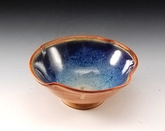 Handmade Pottery Bowl Blue and Brown by Mark Hudak