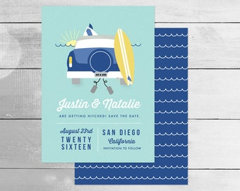 Surf Save the Date Card for Beach Wedding, Postcard Option, Features car with surfboard & ocean waves, turquoise blue and yellow