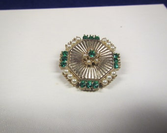 vintage Octagonal Goldtone  Brooch or Pin with Faux Pearls & Green Rhinestones