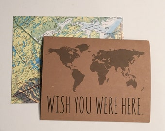 Wish You Were Here Card with Repurposed Map Envelope. Travel card.