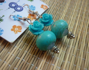 Free shipping - turquoise stone and Flower Earrings
