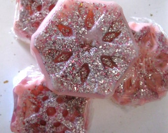 Hidden Treasure Snowflake Soap - Beautiful Snowflake Soap with secret jewelry inside!  FREE US SHIPPING