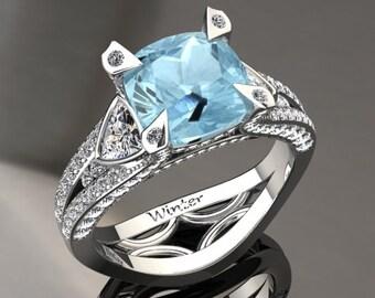Aquamarine Engagement Ring Aquamarine Ring 14k or 18k White Gold Matching Wedding Band Available W31AQUAW