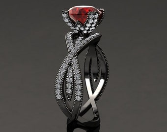 Ruby Engagement Ring Ruby Ring 14k or 18k Black Gold SW4RUBYBK