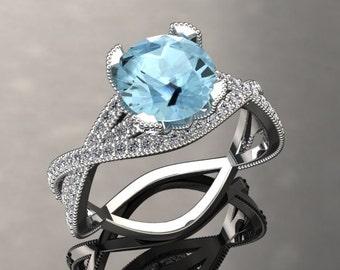 Aquamarine Engagement Ring Aquamarine Ring 14k or 18k White Gold SW4AQUAW