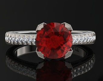 Ruby Engagement Ring Ruby Ring 14k or 18k White Gold Matching Wedding Band Available SW5RUBYW