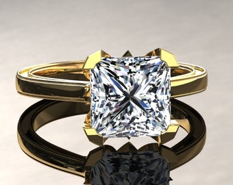Moissanite Engagement Ring Princess Cut Moissanite Ring 14k or 18k Yellow Gold Matching Wedding Band Available SW17MOISY