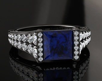 Blue Sapphire Engagement Ring Princess Cut Blue Sapphire Ring 14k or 18k Black Gold Matching Wedding Band Available W25BUBK