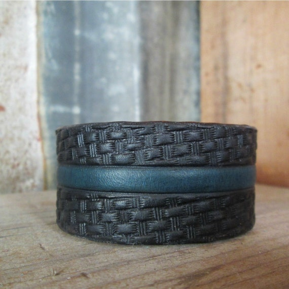 Thin Blue Line Leather Cuff, Tooled Leather Cuff, Leather Cuff