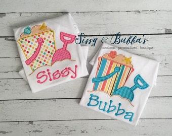 Personalized Summer Sand Pail Appliqué Shirt, beach, girl, girly, summer, shovel, pink, sun, boy, sibling, bucket, sea shells